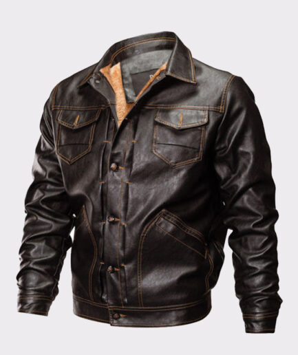 Men's Winter Warm Bomber Leather Jacket