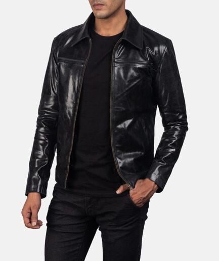 Men Mystical Black Leather Jacket