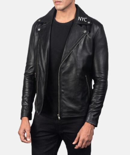 Noah Black Leather Biker Jacket