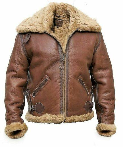 RAF Aviator Brown B3 Bomber Fur Shearling Pilot Flying Leather Jacket For Men