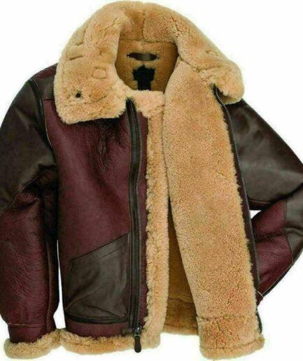 RAF Fur Shearling Aviator B-3 Bomber Real Leather Jacket.