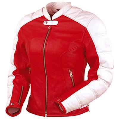 Red Rose Ladies Motorbike Sport Leather Jacket