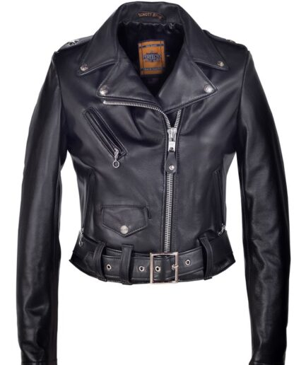 women's cropped perfecto in lambskin leather jackets