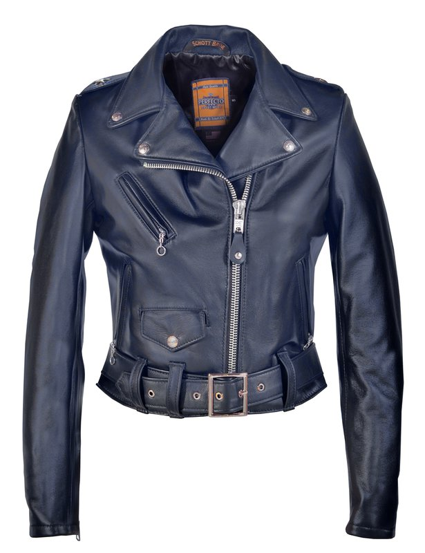 Women's Cropped Perfecto blue in Lambskin Leather Jacket