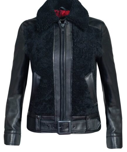Women's Sheepskin Jacket with Cowhide Trim