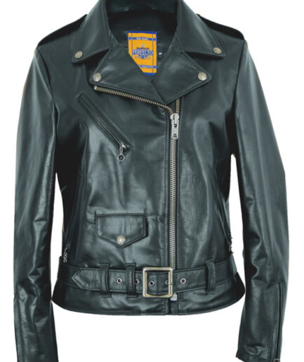 Women's Waxy Natural Grain Cowhide Perfecto Asymmetrical Leather Jacket