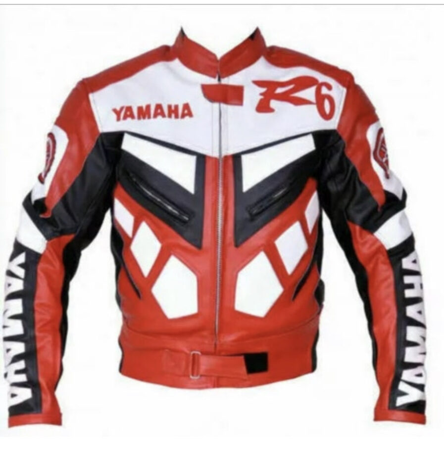 Yamaha R6 Red Motorcycle Cowhide Leather Jacket