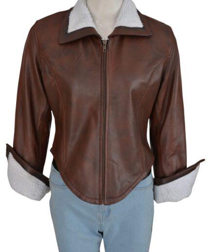 Stylish Women Brown Fur Jacket
