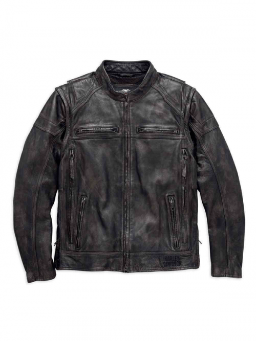 Harley Davidson Men's Dauntless Convertible Leather Jacket