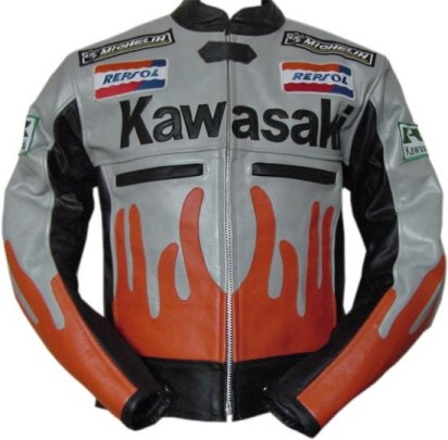 Kawasaki Man Racing Motorbike Leather Jacket