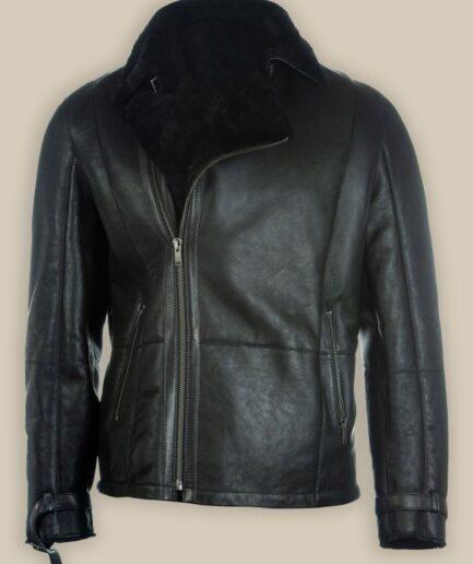 Men Pure Black B3 Shearling Jacket