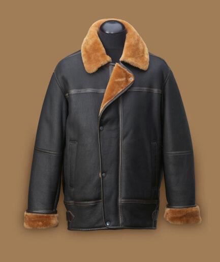 Men Black Aviation Shearling Jacket