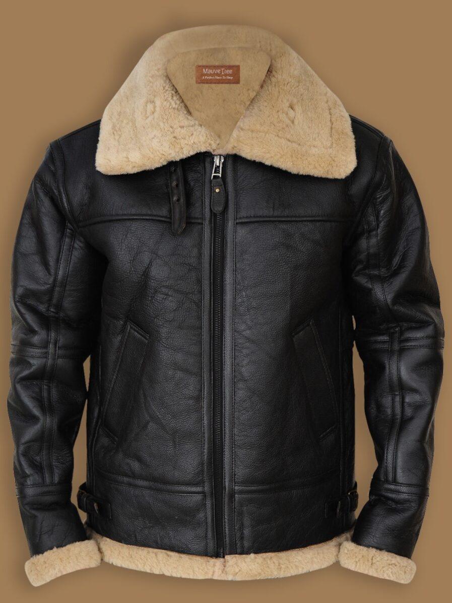 Men's Black B3 Bomber Sheepskin Jacket