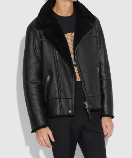 Men Black Shearling Moto Jacket