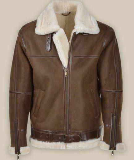 Men Umber Brown Shearling Leather Jacket