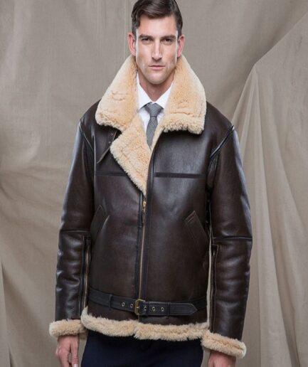Men Raf Shearling Leather Jacket