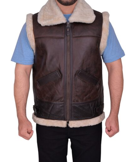 Men Sheepskin Brown Vest