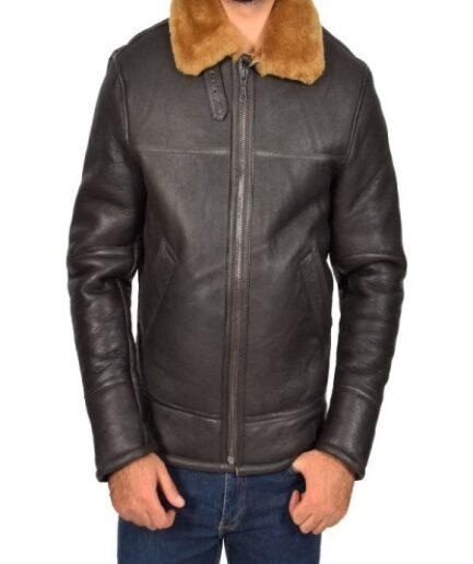 Men Real Sheepskin Brown Jacket