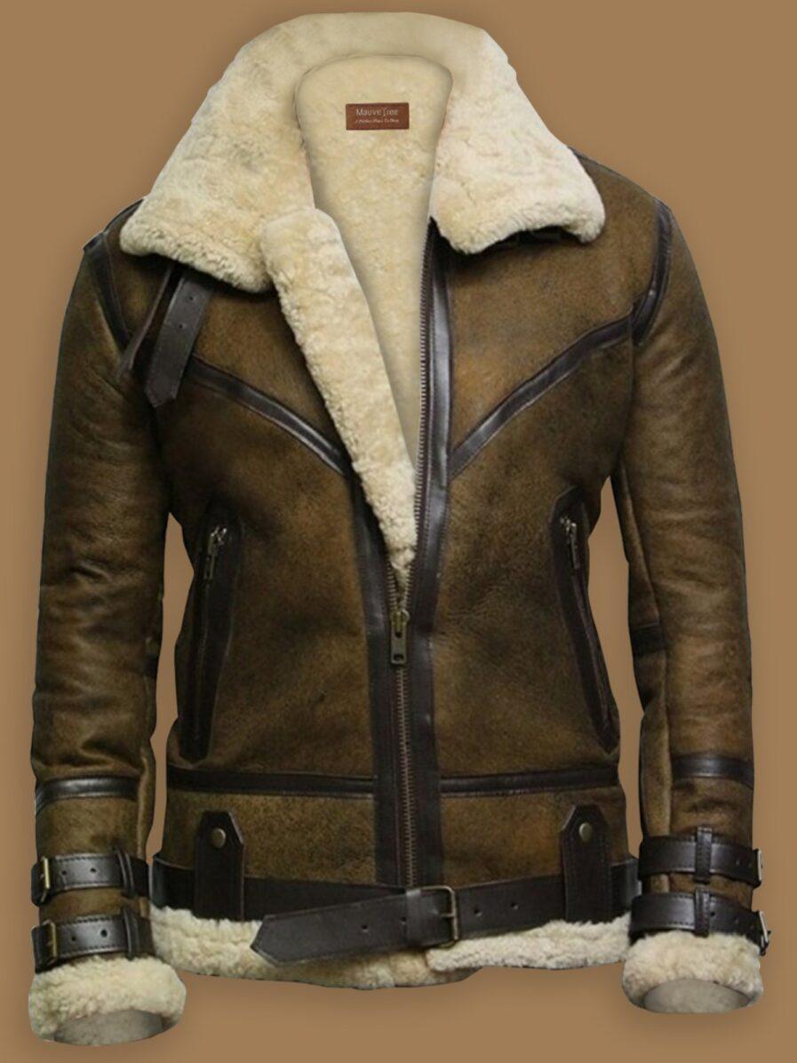 Brown B3 Bomber Men Sheepskin Jacket