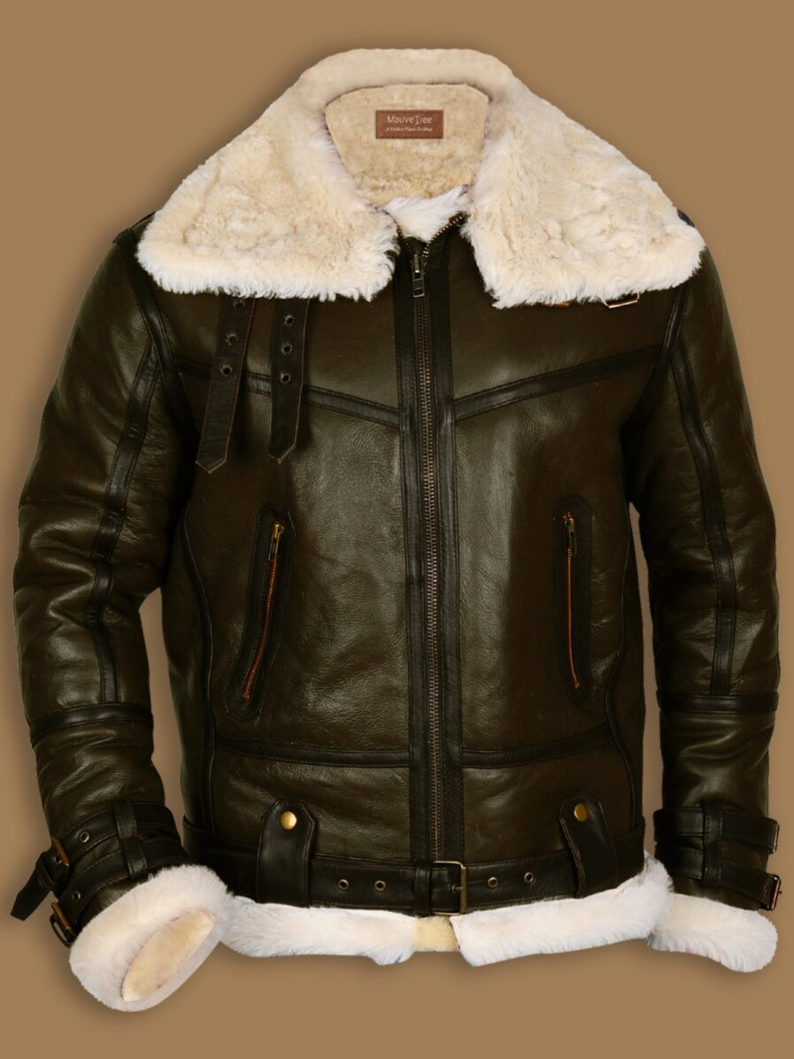 Army Green Men B3 Bomber Shealring Leather Jacket