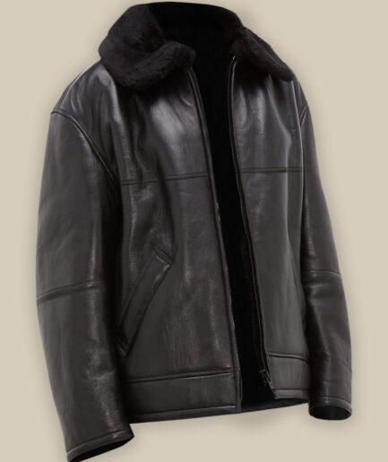 Black B3 Shearling Jacket For Men