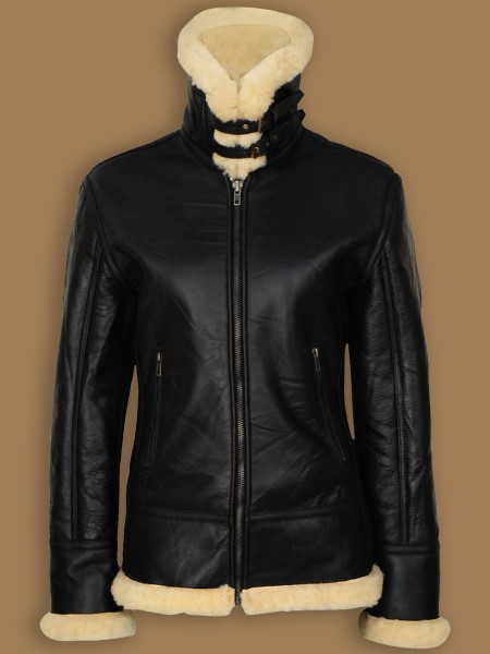 WOMEN'S BLACK SHEARLING B3 JACKET