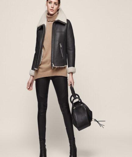 Women Black Aviator Shearling Jacket