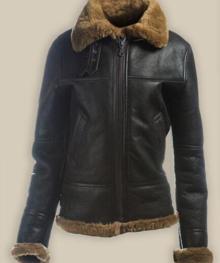 Women B3 Bomber Shearling Leather Jacket